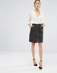 Стеганая юбка на молнии спереди Closet - Черный