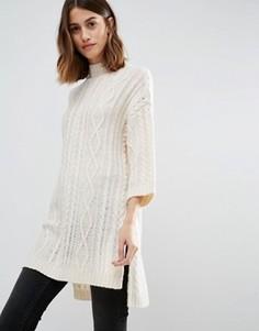 Джемпер вязки косичкой с боковыми разрезами Vero Moda - Белый