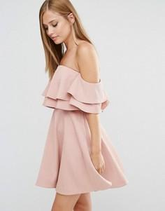 Платье мини с двойной драпировкой Keepsake - Розовый
