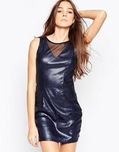 Платье с сетчатой вставкой и пайетками Madam Rage - Синий