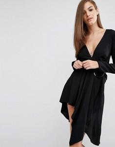 Платье с длинными рукавами и кольцами Stylestalker Maia - Черный