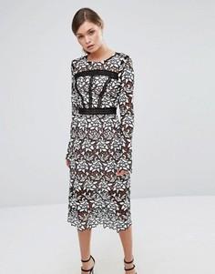 Кружевное премиум-платье миди с отделкой лесенка True Decadence - Черный
