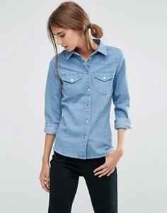 Джинсовая приталенная рубашка ASOS - Синий