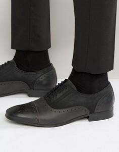 Черные броги из кожи и текстиля ASOS - Черный