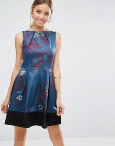 Платье с цветочным принтом и кружевным краем Closet - Синий