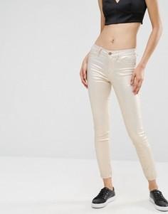 Укороченные джинсы скинни с эффектом металлик Vila - Золотой