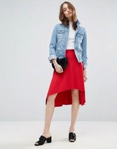 Расклешенная юбка миди асимметричной длины ASOS - Розовый