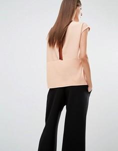 Топ с короткими рукавами и открытой спиной с запахом Selected Irina - Розовый
