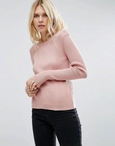 Джемпер в рубчик с круглым вырезом ASOS - Розовый