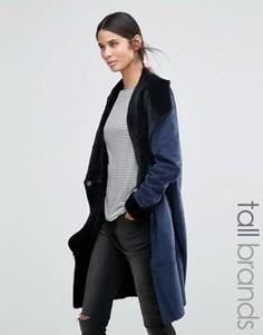 Пальто из искусственной овчины с поясом Vero Moda Tall - Темно-синий