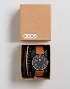 Часы со светло‑коричневым ремешком и браслет ASOS - Рыжий