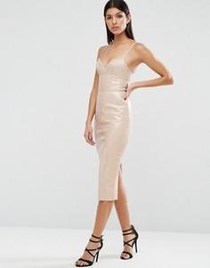 Облегающее платье из полиуретана ASOS - Бежевый