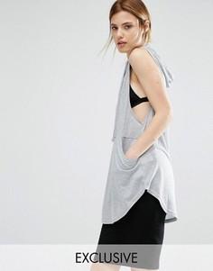Oversize-топ с капюшоном Stitch & Pieces - Серый