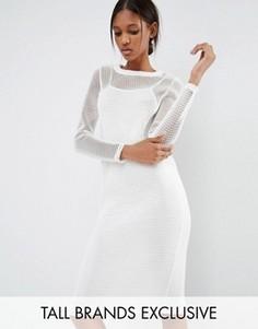 Облегающее платье с длинными рукавами и сеточкой Noisy May Tall - Белый
