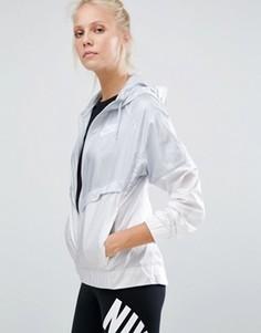 Серо-белая ветровка на молнии Nike - Фиолетовый