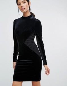 Бархатное облегающее платье с трикотажными вставками Y.A.S Luvy - Черный