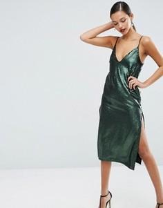 Платье миди с пайетками и глубоким вырезом ASOS - Зеленый