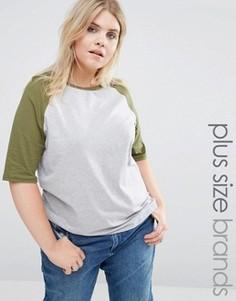 Трикотажная футболка с рукавами реглан Alice & You - Мульти