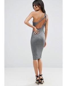 Платье миди на одно плечо с блестками ASOS - Серебряный