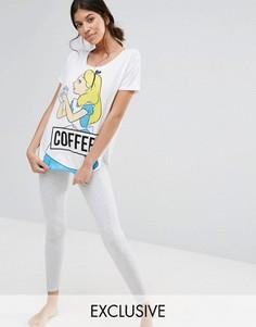 Пижама с принтом диснеевской Алисы и надписью Coffee Missimo - Серый