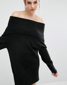 Вязаное платье-туника Kendall + Kylie Fuzzy - Черный