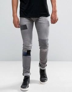 Зауженные стретчевые джинсы с заплатками Religion - Серый