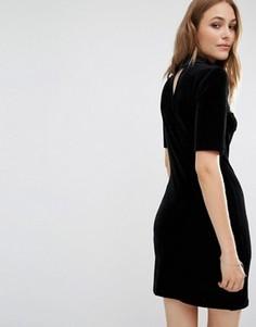 Бархатное облегающее платье с вырезом сзади Vila - Черный
