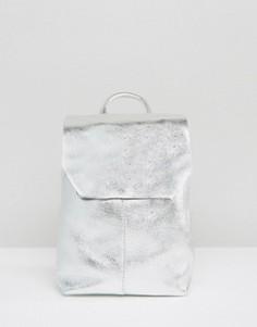 Кожаный рюкзак мини с затягивающимся шнурком ASOS - Золотой