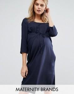 Тканое цельнокройное платье для беременных с завязкой Mamalicious - Темно-синий Mama.Licious