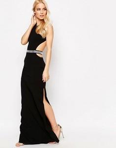 Платье макси с поясом и вырезами Sistaglam Blake - Черный