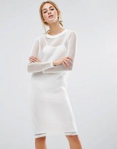 Платье с сетчатой накладкой Noisy May - Белый