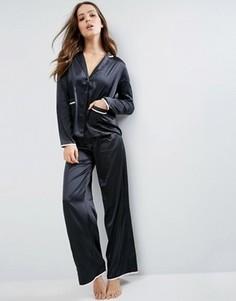 Сатиновый пижамный комплект ASOS Christy - Черный