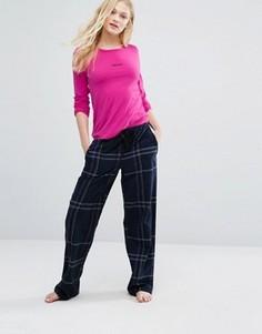 Пижамный комплект в клетку с логотипом DKNY - Розовый