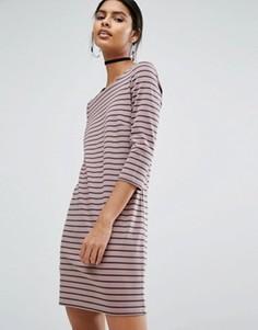 Трикотажное платье мини в полоску Vila - Серый