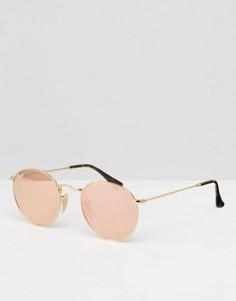 Круглые солнцезащитные очки в золотистой металлической оправе Ray-Ban - Розовый