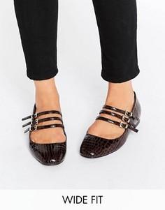 Балетки для широкой стопы с квадратным носком ASOS LEE - Красный