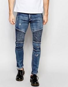 Тертые байкерские джинсы скинни выбеленного синего цвета Liquor & Poker - Синий