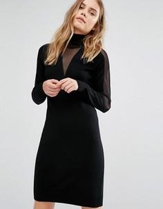 Трикотажное платье с прозрачными вставками Gestuz - Черный