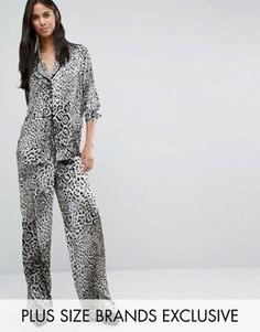 Брюки в пижамном стиле с принтом Y.A.S Tall Steph - Мульти