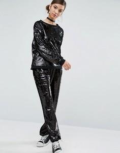 Широкие брюки с пайетками Daisy Street - Черный