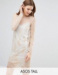 Кружевное цельнокройное платье на серой меланжевой подкладке ASOS TALL - Розовый