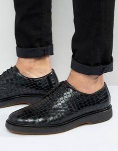 Черные дерби с эффектом крокодиловой кожи ASOS - Черный