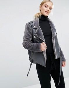 Байкерская куртка со вставками из искусственного меха J.O.A - Серый J.O.A.