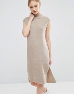 Трикотажное платье миди с отделкой J.O.A - Кремовый J.O.A.