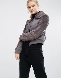 Укороченная куртка из искусственной овечьей шерсти J.O.A - Коричневый J.O.A.