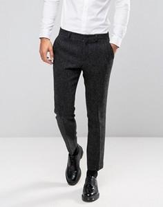 Серые брюки узкого кроя из 100% шерстяного твида Харрис с узором в елочку ASOS - Серый