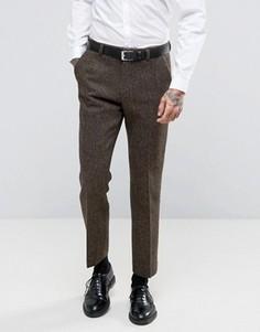Коричневые брюки узкого кроя из 100% шерстяного твида Харрис с узором в елочку ASOS - Коричневый