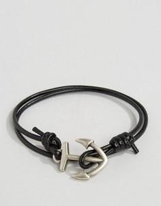 Черный браслет с якорем ASOS - Черный