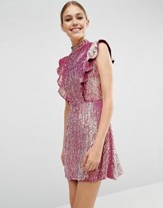 Платье мини с оборкой и пайетками ASOS - Розовый