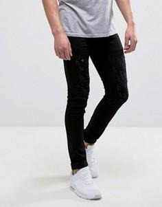 Зауженные джинсы стретч с потертостями Religion - Черный